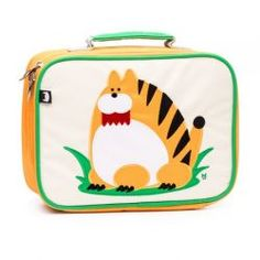 Narangi the Tiger Coated Canvas Lunchbox by #BeatrixNY - These insulated lunch boxes are a playful way to keep sandwiches & carrot sticks fresh until lunch time. Made with heavy-duty nylon and machine washable for kid- proof durability and easy cleaning. Back side has a name tag and a zipped pocket. Tested PVC free, lead free, and phthalate free.