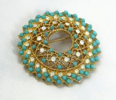 Vintage Brooch with Turquoise and Opalescent Rhinestones - Signed - Sarah Coventry