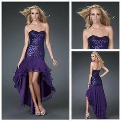 Elaborate Sweetheart Sequin Dark Purple Chiffon Mermaid Short Front Long Back Prom Dresses 2012 US $169.99