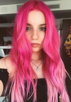 Pinterest: DEBORAHPRAHA ♥️ bright pink hair color #pink #haircolor