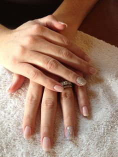 CND shellac in romantique with 1 accent nail done with glitter