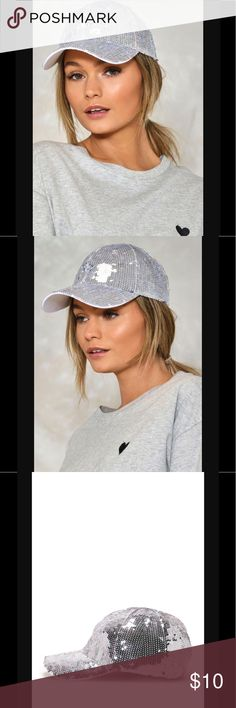 🆕💛Rack14 I want it all sequin ball cap Silver sequin baseball cap. One size Nasty Gal Accessories Hats