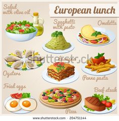 Set of food icons. European lunch. Fresh salad with olive oil, spaghetti with pesto, omelette with vegetables, oysters, lasagna, penne pasta with tomato sauce, fried eggs, pizza, beef steak.