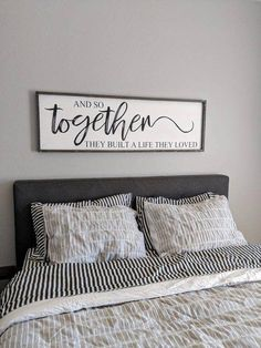 Hand painted farmhouse style and so together they built a life they loved. Painted in black lettering and lightly distressed creates the perfect charm for any room. This sign is designed to hang from the frame. All signs are hand cut, stained, sande Plywood Furniture, Bedroom Furniture, Furniture Nyc, Furniture Websites, Furniture Dolly, Furniture Removal, Furniture Storage, Furniture Layout, Cheap Furniture