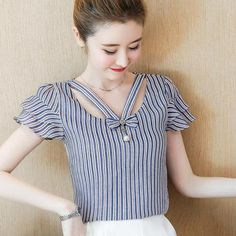 Women Summer Chiffon Blouse Shirt Blouses 2018 Fashion Elegant Hollow Stripes Shirts Short Sleeve Office Ladies Tops Plus Size Designs For Dresses, Dress Neck Designs, Blouse Designs, Cute Blouses, Shirt Blouses, Blouses For Women, Kurta Neck Design, Sewing Blouses, Summer Blouses
