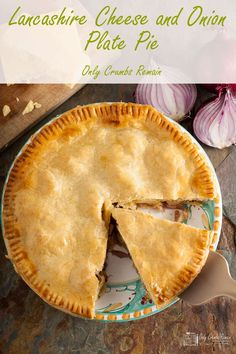 Made with a regional cheese, this humble and homely Lancashire cheese and onion plate pie, from Only Crumbs Remain is full of flavour and comfort. Cheese And Onion Pie, Cheese Pies, Scones, Lancashire Cheese, Cheese Recipes, Pastry Recipes, Pie Recipes, Recipies, Vegetarian Recipes