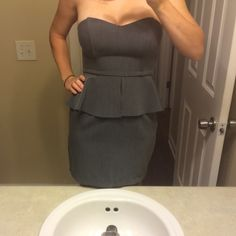Strapless cocktail dress Sexy gray cocktail dress. Only worn twice. Like new! $30 OBO Forever 21 Dresses Strapless