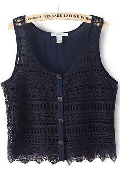 Navy Blue Plain Hollow-out Sleeveless Vest