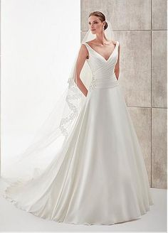 72d0f69a9fb6 Fabulous Satin Chiffon V-Neck A-Line Wedding Dresses With Beaded Lace  Appliques Classic