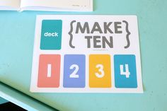 Make Ten... A fun and easy card game for kids that reinforces math concepts and uses a regular deck of playing cards. Free printable play mat included!