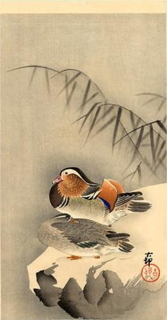 Mandarin Ducks in Snow - Ohara Koson