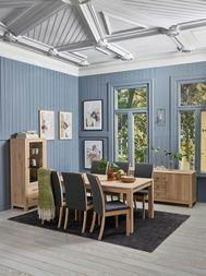 LINDESNES Spisebord i Nordic whitE heltre eik med uttrekk for 6 plater