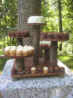 Rustic Cupcake Stand Wedding Cake Log Slice 5 Tier XLarge