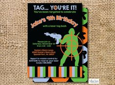 Laser Tag Invitation, Digital Printable, DIY, Laser Tag Birthday, Laser Tag Party, Lazer Tag Invite by KelseaHaasDesigns on Etsy https://www.etsy.com/listing/206429328/laser-tag-invitation-digital-printable