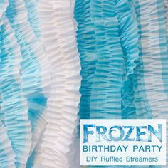 Finished version of the Disney Frozen Party DIY Ruffled Streamers