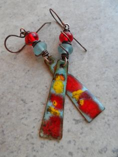 Fireworks! ... Enameled Copper, Antique Desert Glass Lampwork, Lampwork and Copper Wire-Wrapped Boho Earrings