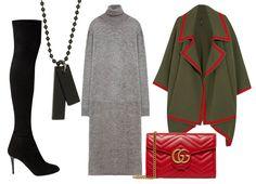 С чем носить платье-водолазку?Выбор ELLE: ботфорты Jimmy Choo, пончо Burberry, клатч Gucci, подвеска Aldo