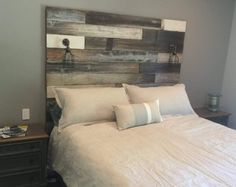 Coastal Headboard In A Whitewashed Distressed Tone With Wood Beds Reclaimed
