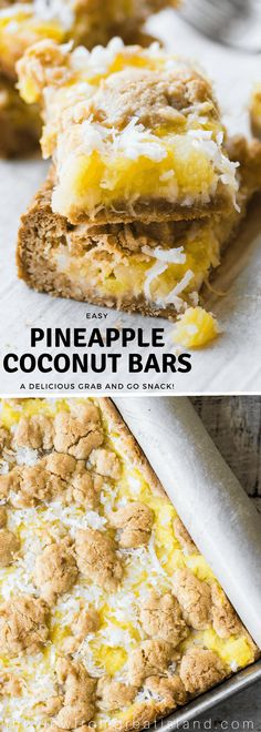 Pineapple Coconut Bars are a an easy tropical inspired treat made with juicy crushed pineapple, coconut, and a brown sugar shortbread crust ~ perfect for breakfast, bunch, or all day snacking. I recommend the all day snacking :) Potluck Desserts, Easy Desserts, Delicious Desserts, Yummy Food, Vanilla Desserts, Easy Sweets, Coconut Desserts, Brunch Recipes, Coconut Bars