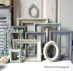 Mint Green and Gray Painted Picture Frames, Made to ORDER Set of 10 Vintage Frames, Sea Glass Green, Grey and Ivory Frames, Ornate Frames Painted Picture Frames, Frames On Wall, Nursery Frames, Decorating With Picture Frames, Gold Nursery, Empty Frames, Upcycled Furniture, Painted Furniture, Interior Pastel