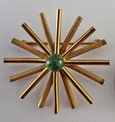 Vintage Wells 14k GF Gold Filled Green Jade Snowflake Starburst Pin Brooch | eBay