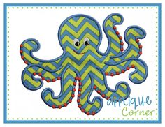 Octopus Dots Boy Applique Design -- From Applique Corner.  Stitches out beautifully.  Love it.
