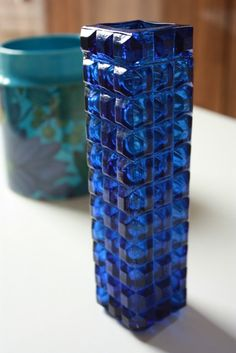 Vintage SKLO UNION Czech Blue Glass *so pretty!