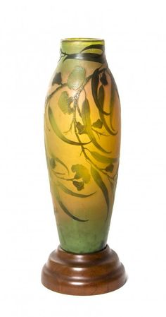 Lot:A Galle Cameo Glass Vase, Height 20 inches., Lot Number:41, Starting Bid:$1000, Auctioneer:Leslie Hindman Auctioneers, Auction:A Galle Cameo Glass Vase, Height 20 inches., Date:08:00 AM PT - Oct 23rd, 2013