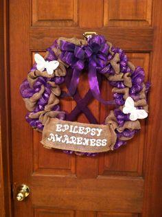 Epilepsy awareness burlap wreath