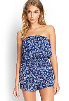 Abstract Floral Strapless Romper   FOREVER21 - 2000068775