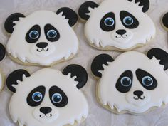 Panda Sugar Cookies Party Favors, Woodland Panda Birthday Party for Child, Forest Friends Animal Theme Zoo Endangered Animals Custom Cookies by MartaIngros on Etsy https://www.etsy.com/listing/196899703/panda-sugar-cookies-party-favors
