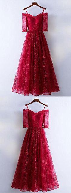 Long Prom Dress, Prom Dresses Long, Burgundy Prom Dress, Lace Evening Dresses #LongPromDress #PromDressesLong #BurgundyPromDress #LaceEveningDresses