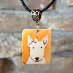 Bull Terrier and Titmouse Pendant  Necklace by ArtAndHope on Etsy, $18.00