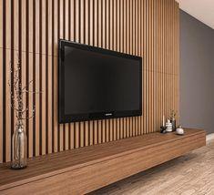 Wood Slat Wall, Wood Panel Walls, Wood Slats, Tv Wall Panel, Wood Wall Paneling, Wall Tv, Tv Walls, Panelling, Living Room Tv Unit