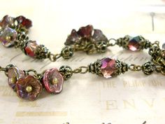 Merlot Garden Dainty Flower Bracelet by ArdentHearts  Wine red neo Victorian inspired floral jewelry with antiqued brass and Czech glass beads