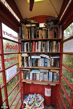 Book box: Villagers in the Somerset village of Westbury-sub-Mendip bought and converted an old red telephone box into a book exchange when their mobile library was cut.