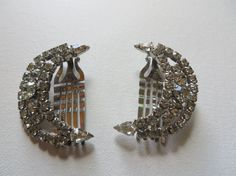 Pair of Vintage Moon Shape Art Deco Rhinestone by PECollectibles, $50.00
