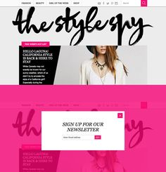 The Style Spy. I love the neon pink background when a popin displays! #webdesign #fashion