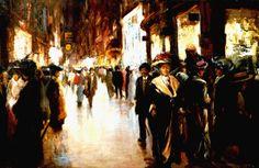 De Venestraat in Den Haag bij avond - Franciscus Willem 'Franz' Helfferich (1871-1941)