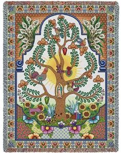 """""""Arboles de la Vida Tapestry Throw"""" A tribute to Latin culture and the tree of life that springs eternal. Done in a talavera style this piece is embedded with symbolism and cultural symbols including Tapestry Weaving, Tapestry Wall Hanging, Jacquard Weave, World Cultures, Tree Of Life, Framed Artwork, Folk Art, Vintage World Maps, Tapestries"""