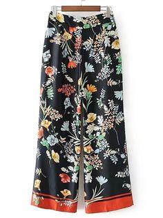 Pantalones con estampado floral con pernera ancha -Spanish SheIn(Sheinside)
