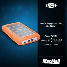 Save 50% on a 500GB LaCie rugged portable hard drive at MacMall.