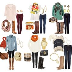 FALL: Flat boots and their outfits.. fall time. So many outfits! #style #fall