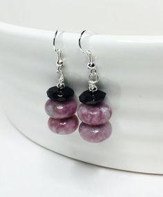 Pink & Black Gemstone Earrings Natural Beaded by LynnsGemCreations