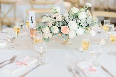 Beautiful centerpiece. Soft pink, white, and olive green. Organic and elegant wedding centerpiece. Flowers by The Native Poppy, Photo by Ether & Smith, Menu & Table number by Honey & Brie Design.  #wedding #blush #olive #organicwedding #romanticwedding #diywedding #twinoaksgarden #softpink #naturalwedding #flowers #gardenweddings #groomsmen #groom @stylemepretty @honeyhoneyphoto