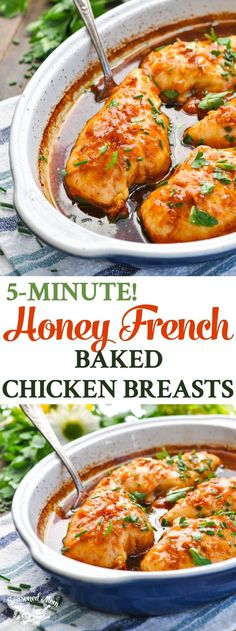 These 5-Minute Honey French Baked Chicken Breasts are an easy dinner recipe for busy weeknights! Chicken Breast Recipes | Dinner Ideas | Baked Chicken Recipes #TheSeasonedMom #chicken #dinner #chickenrecipes