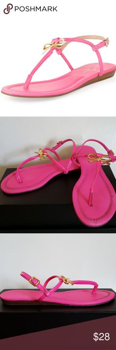 KATE SPADE SANDALS Nice Kate Spade Tracie thong sandals in hot pink with adjustable buckle strap and gold bows. Leather upper, synthetic sole. Made in Brazil. Shoes are in used condition (see pictures). Some minor soil on footbed and a little scuff on front of one shoe. Soles have very minor wear on heels. Please ask questions or for more pictures if needed. NO TRADES. kate spade Shoes Sandals
