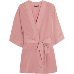 Kiki de Montparnasse Amour Perfect silk crepe de chine robe ($360) ❤ liked on Polyvore featuring intimates, robes, robe, lingerie, outerwear, tops, blush, short bath robe, silk bathrobe and short silk robe