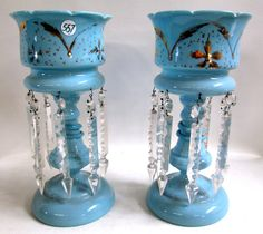 PAIR VICTORIAN GLASS LUSTRES, blue opaline glass body