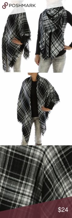 Black & white quality plaid blanket scarf Black & white quality checkered plaid blanket scarf made with soft yarn.  Features a frayed edge. Perfect for cuddling up in on crisp fall and winter days.  Size 60 INCH LONG X 60 INCH WIDE   Made of 100% ACRYLIC.  #Fallscarves #Winter #fallstyle #backtoschool #ootd #outfitoftheday Happy Organics Boutique Accessories Scarves & Wraps